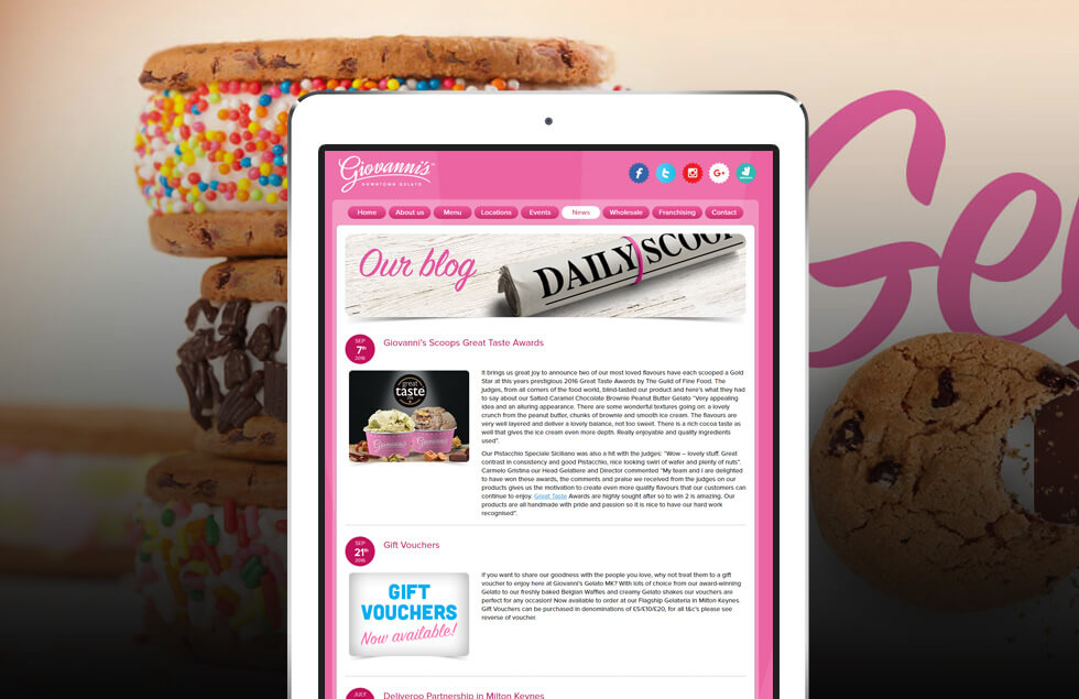 Giovanni's Downtown Gelato, Frozen Yogurt Website