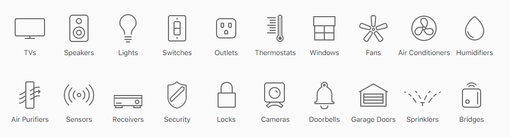 with the Home app you can control this products or devices