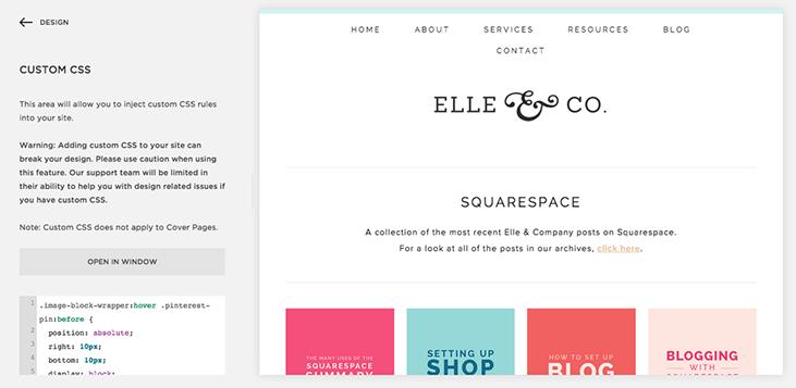 Square space Custom CSS