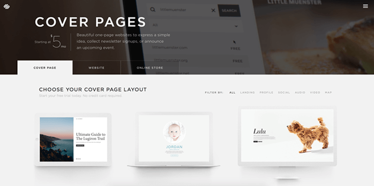 Squarespace Cover Page