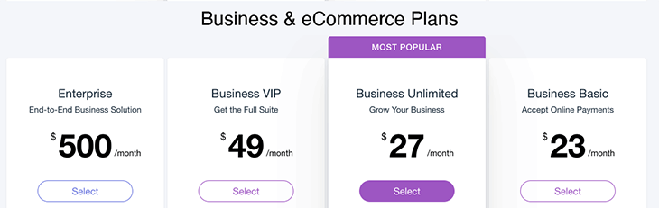 Wix Business & eCommerce Plan