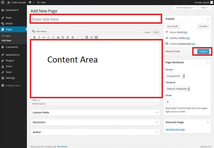 Wordpress New Page Add