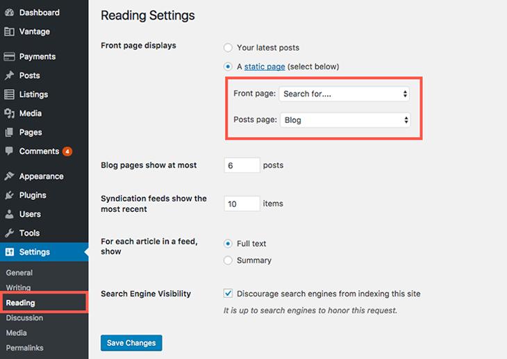 Wordpress Home Page Setting